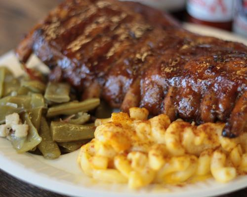 Ribs, mac n cheese, and green beans from Carolina Brothers BBQ