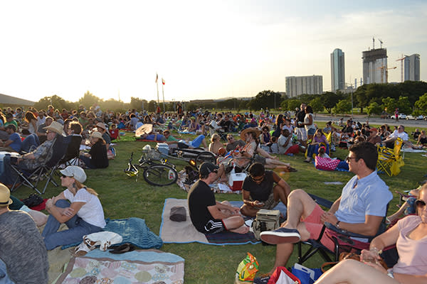 Spectators enjoy Symphony Concerts in the Park as the sun goes down