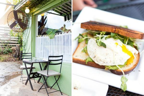 Hillside Farmacy exterior and breakfast sandwich