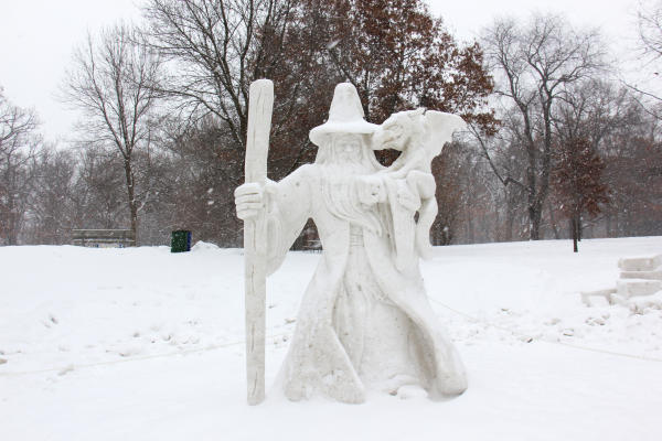wizard snow sculpture