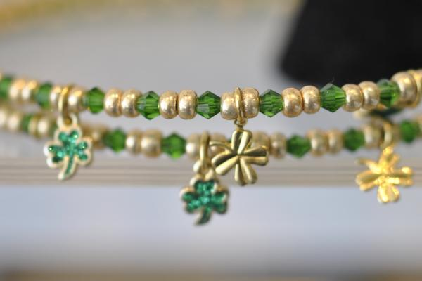Handmade shamrock bracelet from 1 Stop Bead Shop