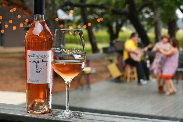 Glass and bottle of Rose at William Chris Vineyards