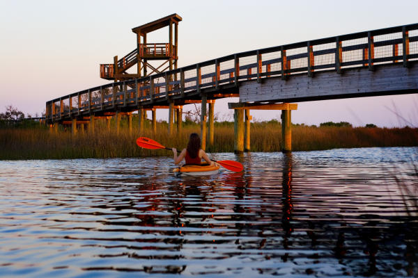 Woman Kayaking in Perdido Key
