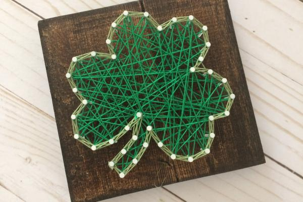 Green shamrock string art from Creatively Stated
