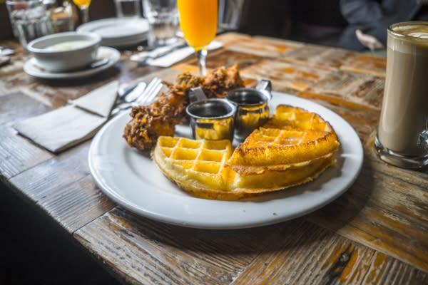 Plate of Chicken & Waffles at Brown Sugar Kitchen