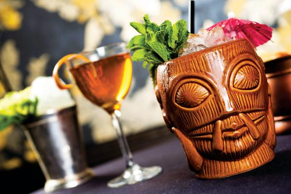 tiki drink and cocktail from Midnight Cowboy speakeasy bar on Sixth Street