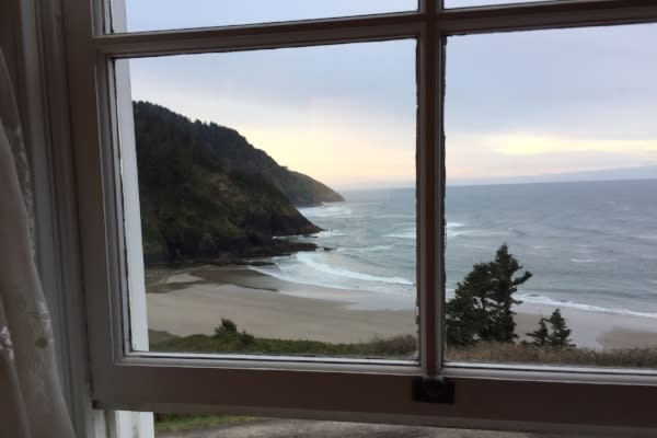 Beach View From Heceta Head Lighthouse B&B by Andy Vorbora