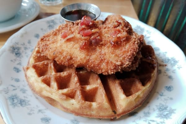 Gluten-free Chicken and Waffles at Jazzy Ladies by Rebecca Adelman