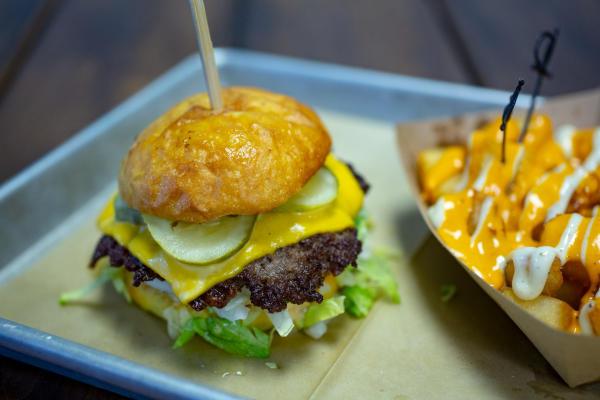 Bravas burger and patatas