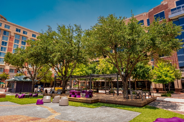New covered seating area from Sugar Land Town Square renovations