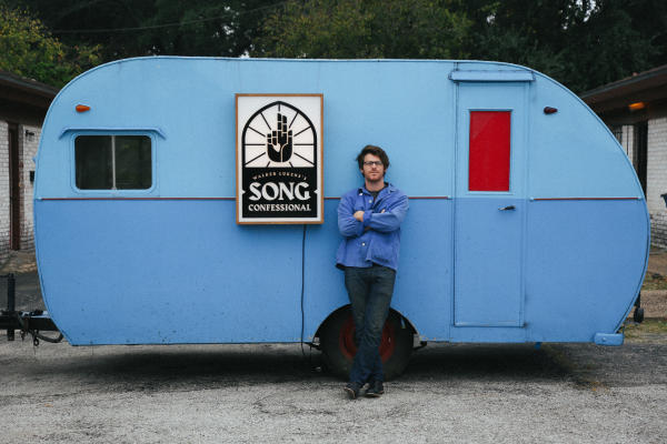 Walker Lukens with Song Confessional trailer in austin texas