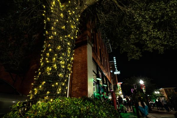 Christmas lights adorn the trees in Downtown Bryan as shoppers fill the streets