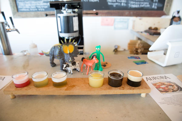 Aurora Brewing Company - flight of beer with Gumby