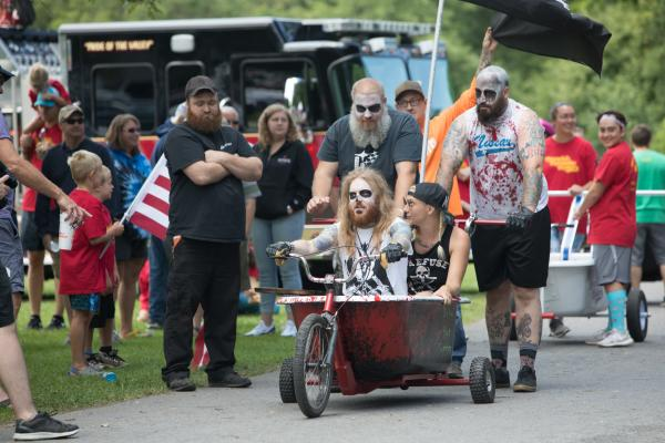 Bath Tub Races at Fillmore Glen State Park - men in bathtub with zombie make-up