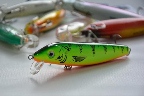 Bright green fishing lure