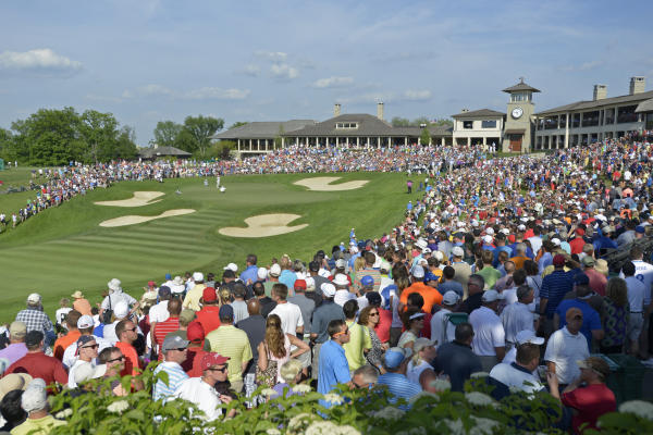 View of the crowd leading up to the 18th hole at the Memorial Tournament.