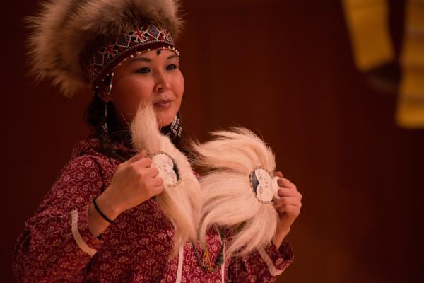 Alaska Native woman dancing performance