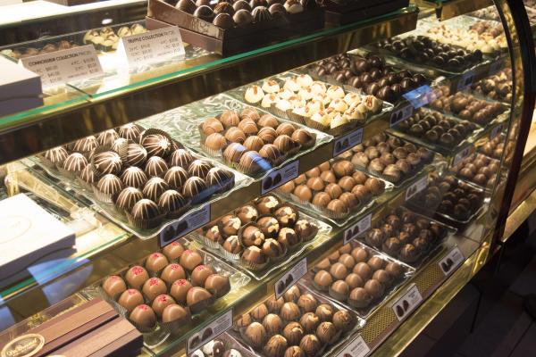 Truffle chocolate case at DeBrand Fine Chocolates in Fort Wayne, Indiana