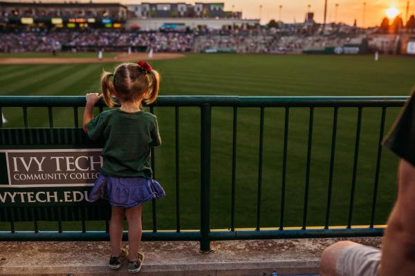 Girl at TinCaps Baseball Game at Parkview Field in Downtown Fort Wayne