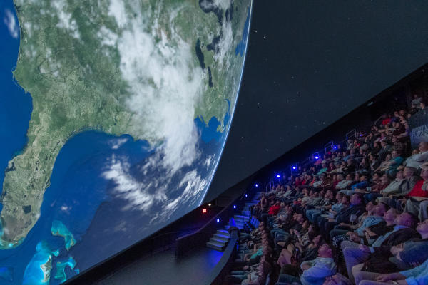 Viewers in the planetarium at the U.S. Space & Rocket Center in Huntsville, AL