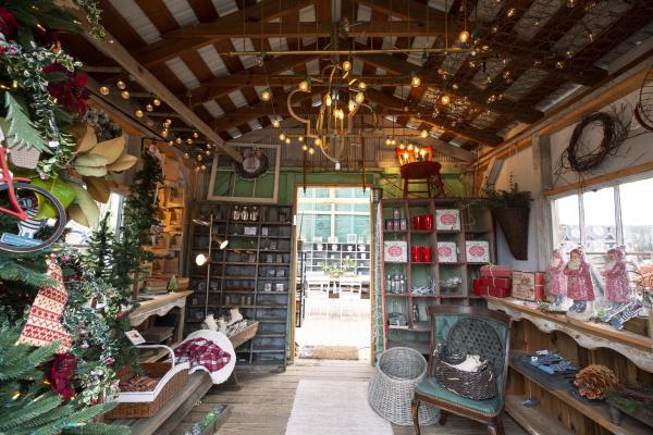 Shed at the Old Lucketts Store, full of holiday items