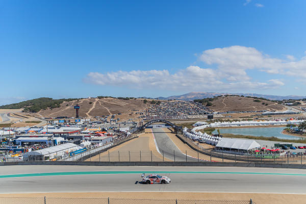 A car on the track at WeatherTech Raceway Laguna Seca