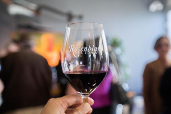 Glass of wine at Rosenblum Cellars