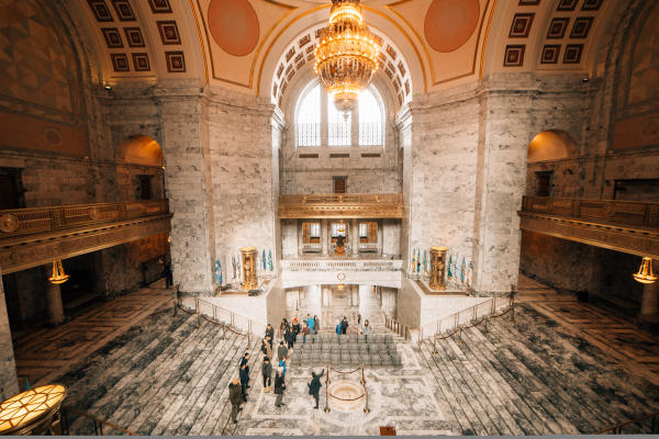 The world's largest Tiffany Chandelier hangs inside of the Washington State Capitol Campus.