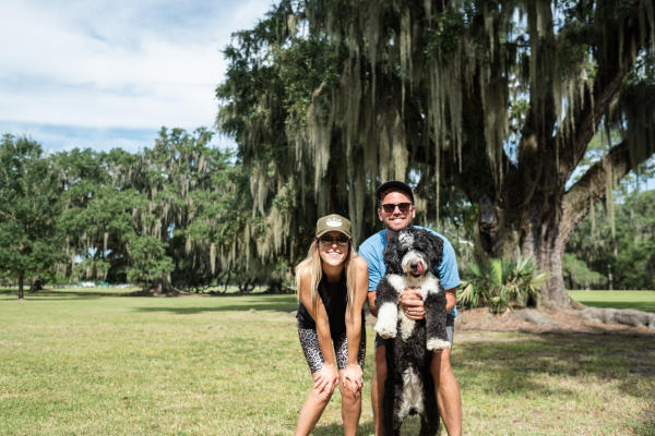 Couple and dog at Fontainebleau State Park