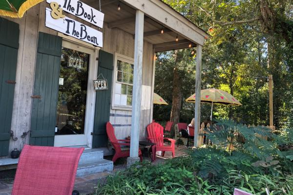 Exterior view of The Book and the Bean coffee shop in Mandeville, LA
