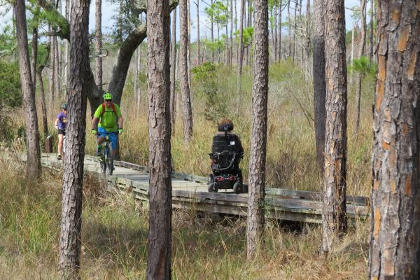 People on bikes and wheelchairs on the Boy Scout Road Trail at Northlake Nature Center in St. Tammany