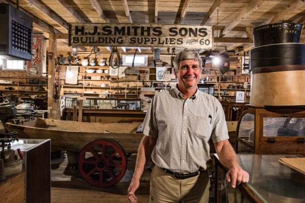 Owner inside of H.J. Smith's & Sons Shop and Museum in Covington, LA