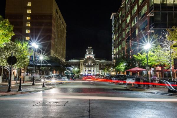 Evening photo of Sugar Land Town Square