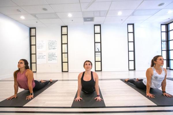 Ladies posing for yoga.