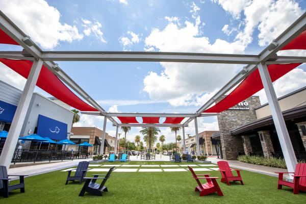 Blue skies at The Lawn at First Colony Mall