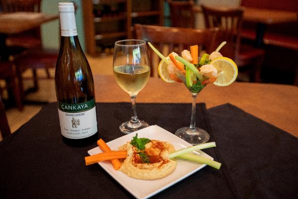 Wine, Shrimp Cocktail, and Hummus