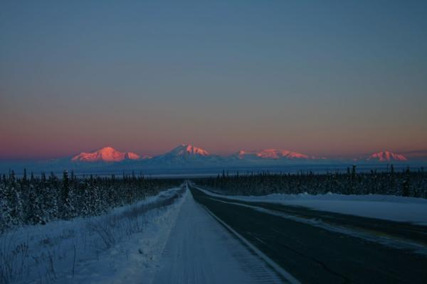 the Wrangell Mountain Range and a highway