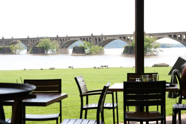 John Wright Restaurant Patio overlooking the river and Bridge in Wrightsville, PA