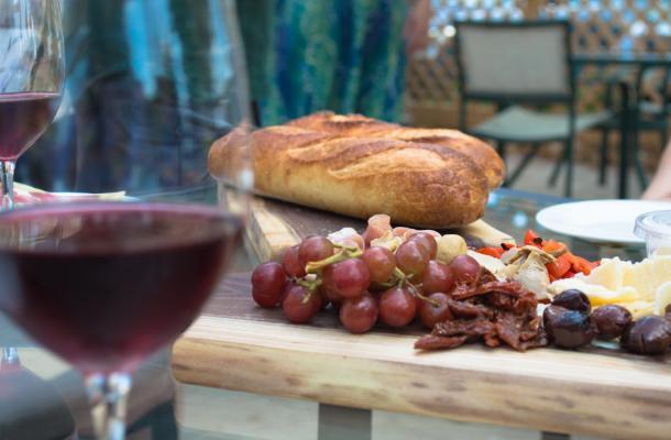 Alton Farms wine and board