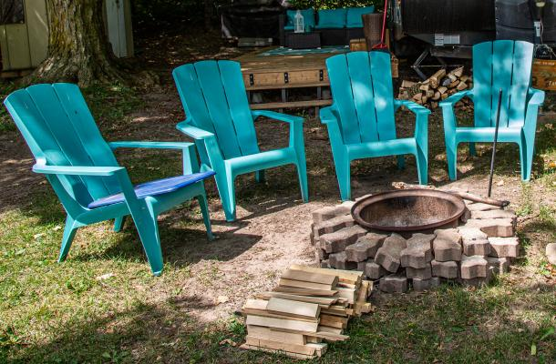 Chairs by fire pit