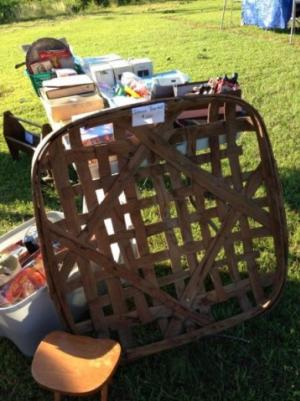 Tobacco basket for sale at the 301 Endless Yard Sale in Johnston County, NC.