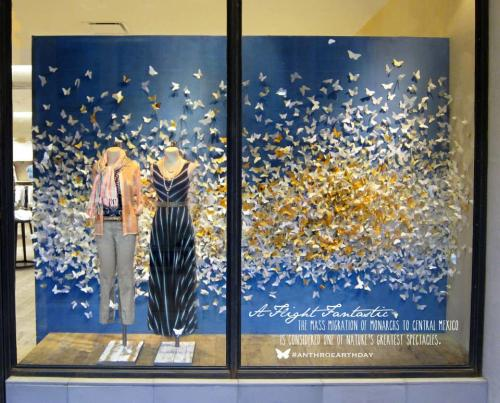 A storefront window with paper butterflies and some clothes on mannequins