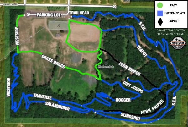 Summer Trail map of Pinehurst Park
