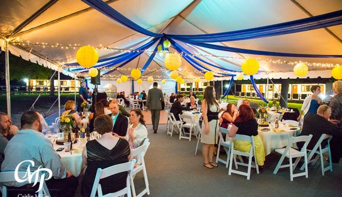 Wedding Reception Under Banquet Tent in Courtyard