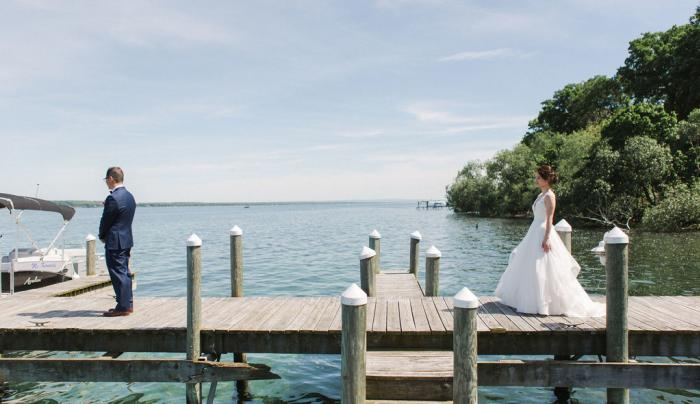 First look at a wedding on the dock