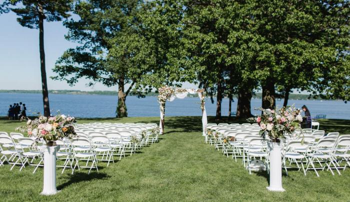 Outdoor area set up for a wedding