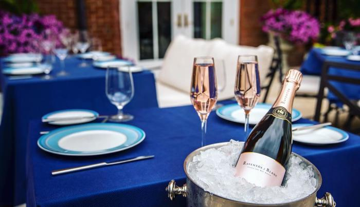 The Blue Hen patio table setting with champagne on ice