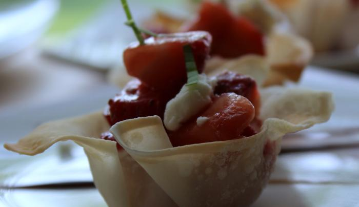 Photo Of A Tasty Chopped Strawberry Wrapped In A Crepe On A Plate At The Cobblestone Cottage