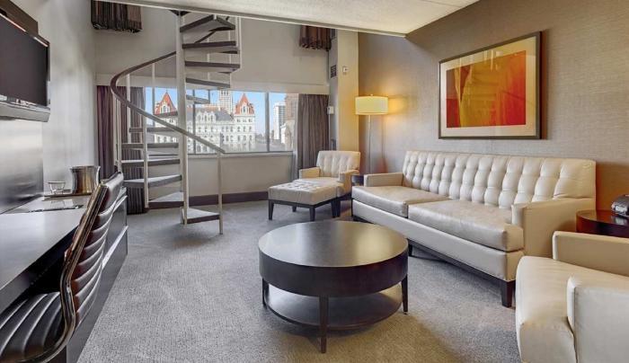 Hilton Albany Bi-Level Suite Living Area