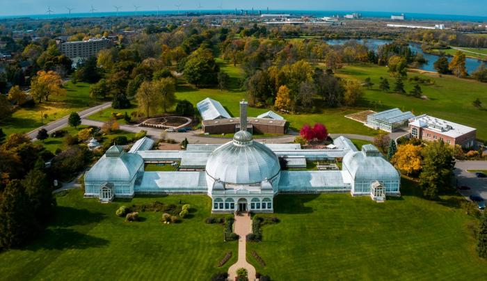 Aerial Shot of the Buffalo and Erie County Botanical Gardens